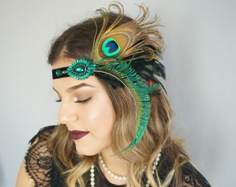 Opulent flapper hair accessories hairband 20s feathers black green peacock feather brooch hedpiece 20s gatsby headpiece