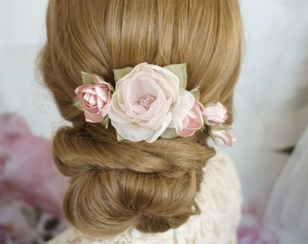 Bridal Hair Jewelry Hair Comb Boho Hair Flowers Flowers Pink Braid hairstyle Headpiece Ella Vintage Botanical Wedding