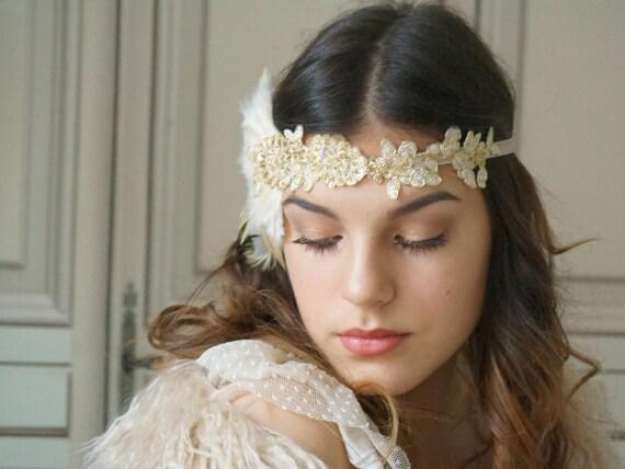 Retro Feder Stirnband Hochzeit Braut Kopfschmuck Great Gatsby Party