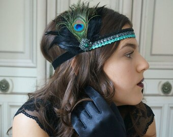 Hair jewelry sequin hairband 20s green black Roaring 20s flapper headpiece gatsby party peacock feathers peacock