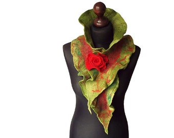 Nuno felted collar nuno felted scarf nuno felted shawl art to wear autumn winter scarf red green boho collar with felted brooch gift OOAK
