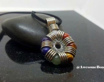 Chakra Pendant, Crystal necklace, Rodin Coil, Orgone Energy Generator, Energy Protector Pendant, Seven chakras, Chakra necklace