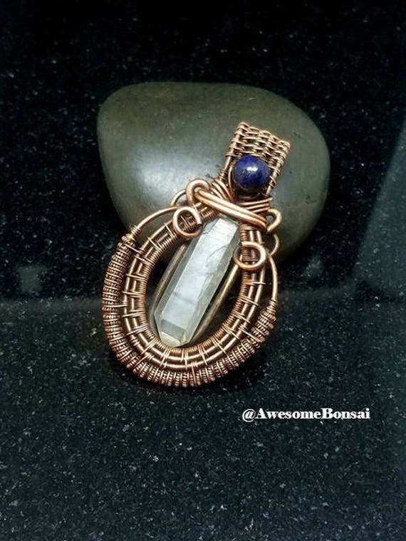 Wire Wrapped Quartz Crystal Pendant, minimal necklace, raw crystal necklace, Boho Style