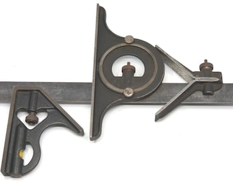 """Vtg Brown & Sharpe 12"""" Combination Square Centering and Protractor Machinist Tool"""