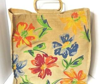Atlanta Botanical Garden Flower Tapestry Large Tote Bag Purse - Wooden Handles