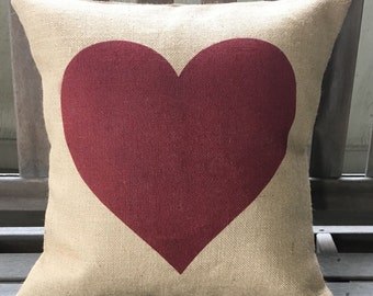 Heart Burlap Pillow *SHIPS Within 3 DAYS!