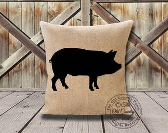 Pig Burlap Pillow Ships between 3-5 Days!