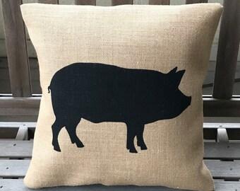 Pig Burlap Pillow *SHIPS Within 3 DAYS!