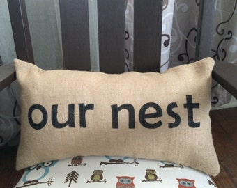 Our Nest Burlap Pillow - *SHIPS Within 3 DAYS!