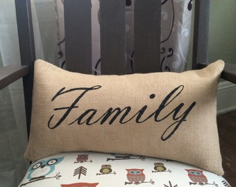 Family Burlap Pillow - *SHIPS Within 3 DAYS!