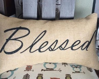 Blessed Burlap Pillow - *SHIPS Within 3 DAYS!