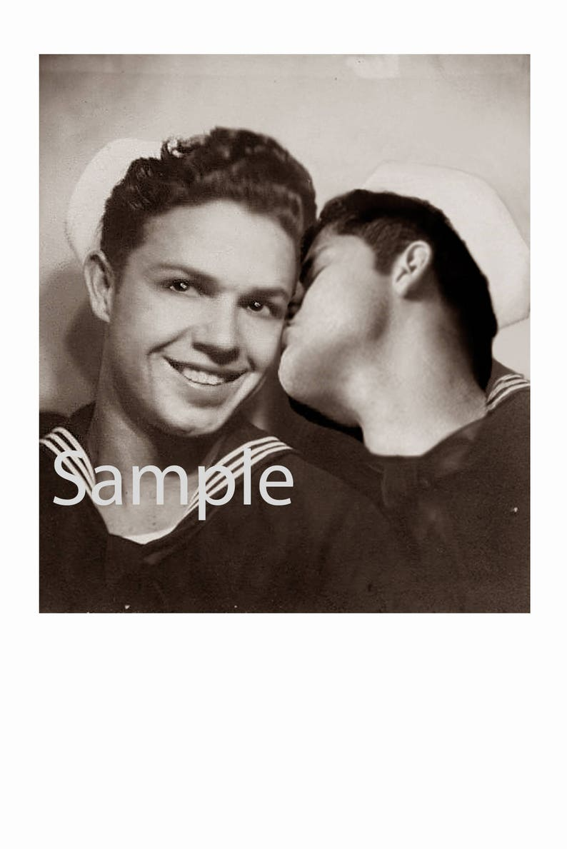 ed237f5d04 1940's Photo Reprint Affectionate Gay WWII Sailors Kiss | Etsy