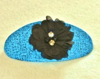 Blue and Black Barrette