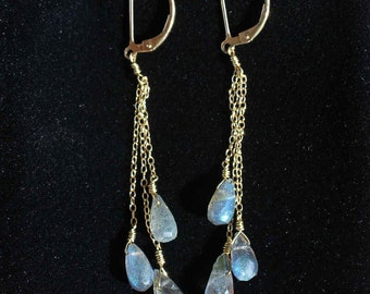 Laboradorite and gold dangly earrings