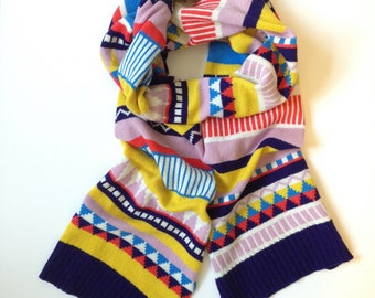 Knitted Scarf / Colourful Lambswool Geometric Fairisle / Adult Size / Women's scarf / Men's scarf / Handmade in UK