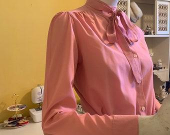 Vintage Clothing Cherry Blossom Tie Shirt Sears Fashions Vintage Sears 1970/'s Shirt Vintage Blouse