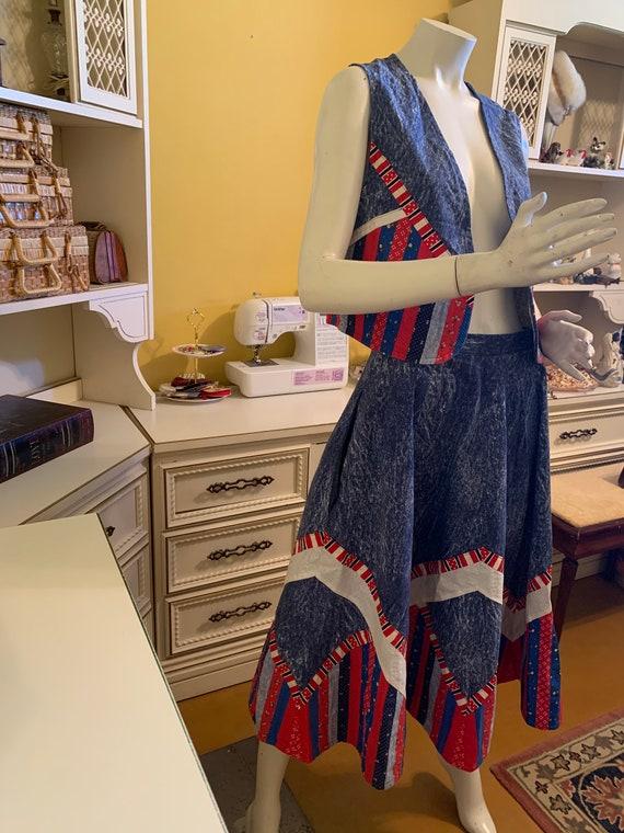 Vintage denim patchwork skirt and vest set.