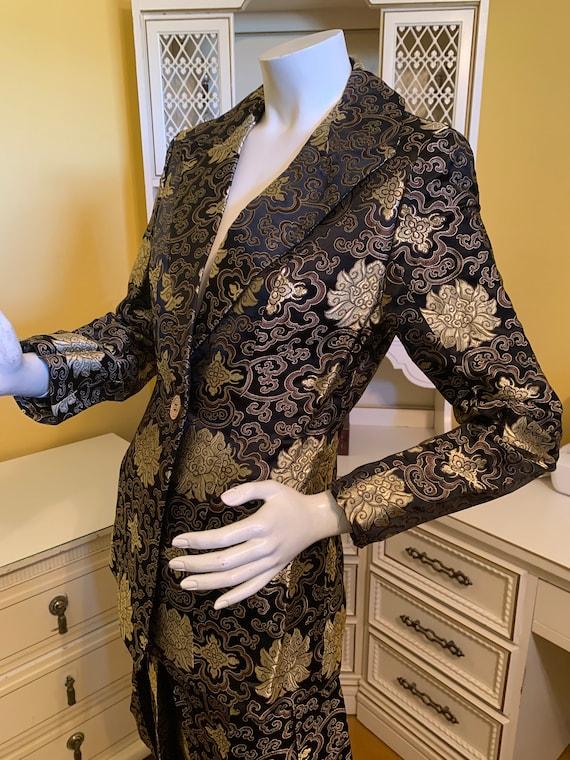 Steven Stolman 100% silk brocade suit.