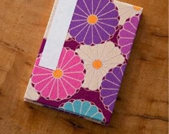 "Corazon Chirimen Fabric Folding Stampbook - ""Kiku"" Chrysanthemum - Purple (Made in Kyoto, Japan)"
