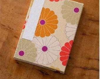 "Corazon Chirimen Fabric Folding Stampbook - ""Kiku"" Chrysanthemum - Beige (Made in Kyoto, Japan)"