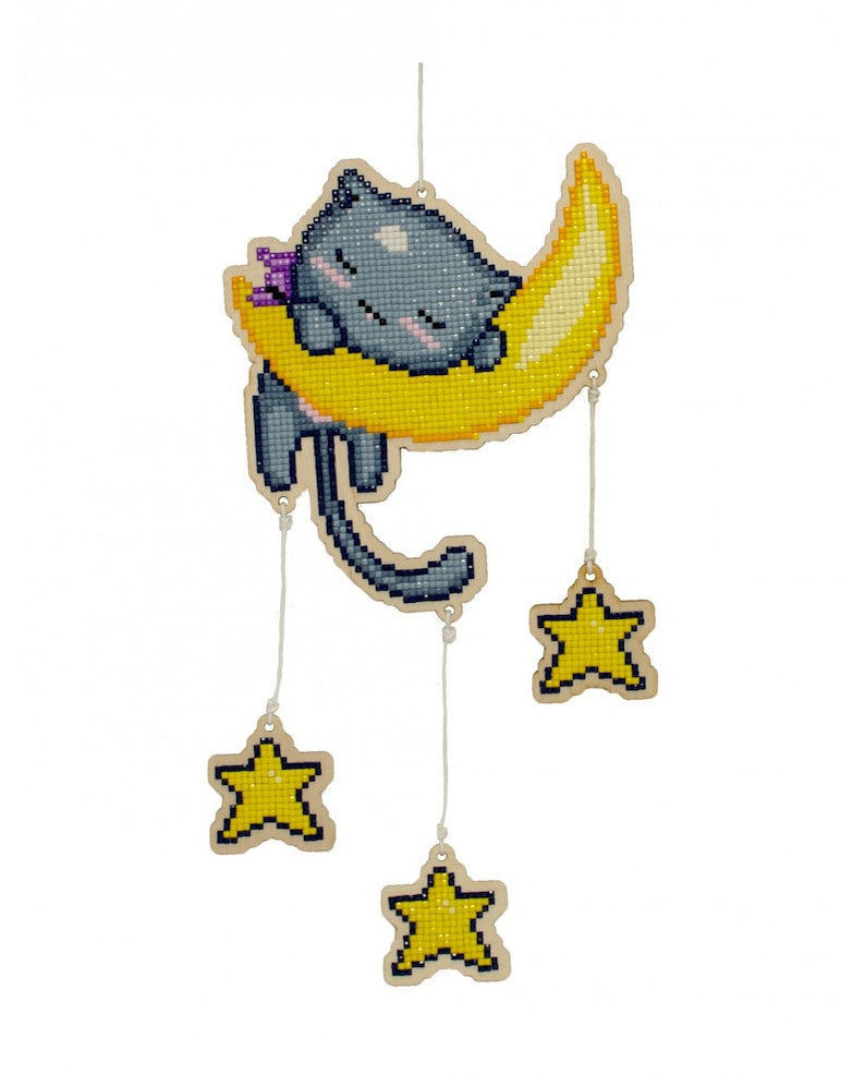 Children/'s Craft Kit Wizardi Wooden Charms Diamond Painting Kit Cat in the Moon