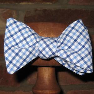 Orange /& Navy Blue Tattersall Check Mens Bow Tie~Cotton Bow Tie~Self Tie~Pre-tied Bow Tie~Wedding Tie~Anniversary Gift~Gingham~Plaid~Auburn