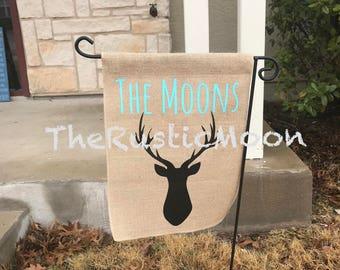 Deer Head Family Burlap Garden Flag Custom Design