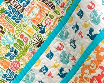 Modern, Boho, baby quilt, organic cotton, guitars, VW bus, surfing, Ipanema fabric from Birch Fabrics, Made in USA