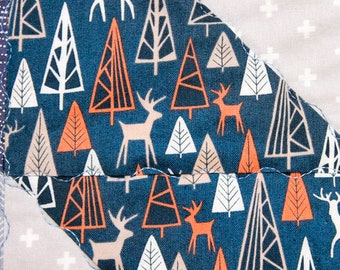 Modern baby quilt, The Big Chill designs/Dear Stella, bears, elk, foxes, woodsy, navy, baby blue, gray, Minky back