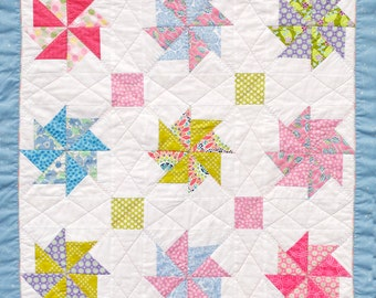 Baby quilt or nursery wall hanging, pastels, Wonky Star, Guess How Much I Love You, Handmade in USA