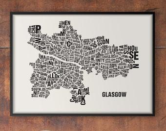 GLASGOW Scotland Type Map Screen Print, Neighbourhood Map, City Map, Text Map, Font Map, Type Art, Typography, handmade design