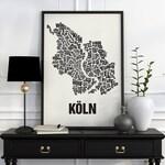 Cologne / Köln Typographic Map Screen Print