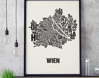 VIENNA Wien Type Map Screen Print, Neighbourhood Map, City Map, Text Map, Font Map, Type Art, Typography, handmade design
