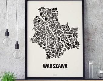 WARSAW Warszawa Poland Type Map Screen Print, Neighbourhood Map, City Map, Text Map, Font Map, Type Art, Typography, handmade design