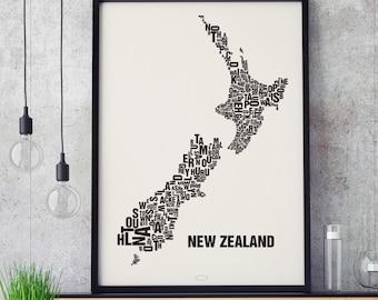 NEW ZEALAND Type Map Screen Print, Neighbourhood Map, City Map, Text Map, Font Map, Type Art, Typography, handmade design