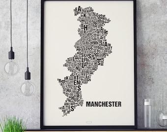 MANCHESTER UK Type Map Screen Print, Neighbourhood Map, City Map, Text Map, Font Map, Type Art, Typography, handmade design