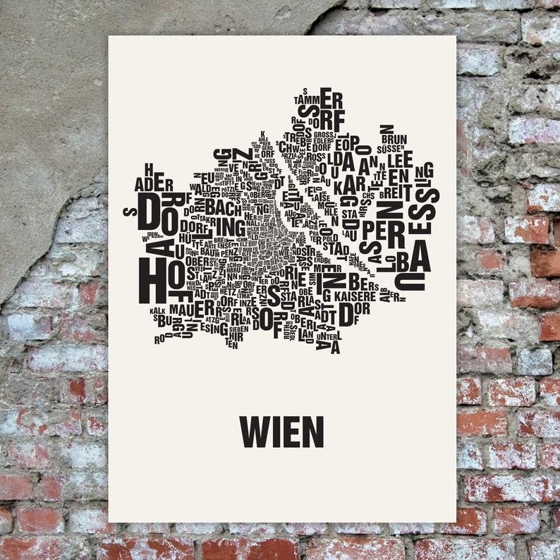 VIENNA / Wien Austria Typographic Map Screen Print image 0