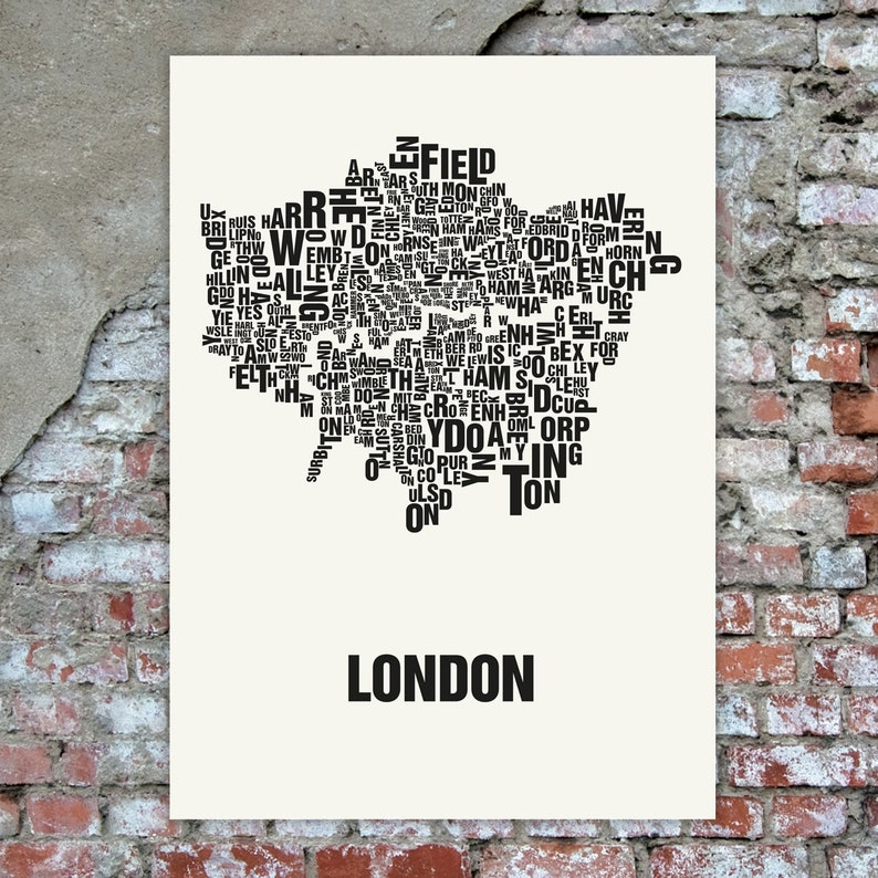 LONDON UK Typographic Map Screen Print Neighbourhood Map image 0