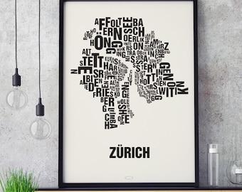 ZURICH Zürich Type Map Screen Print, Neighbourhood Map, City Map, Text Map, Font Map, Type Art, Typography, handmade design