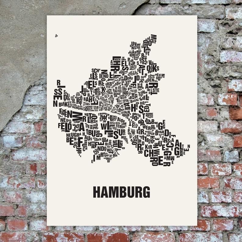 HAMBURG Germany Typographic Map Screen Print Neighbourhood image 0