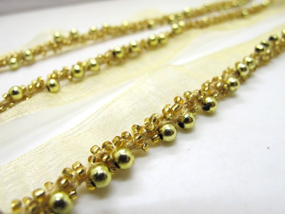 21mm Seed Beads and Pearls Twisted Piping Trim|Lip Cord|Lace Trim|Edging Trim|Cushion Making|Costume Doll Miniature Decorative Bead Lace