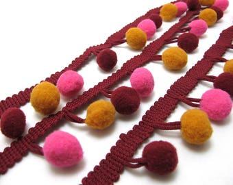 1 1/8 Inches Pom Pom Trim|Ball Fringe|Fringe Trim|Cushion|Costume|Miniature Doll|Clothing Edge Decorative Embellishment