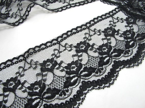 3-3//8 inches White or Black Venice Lace Ribbon Trim By Yard