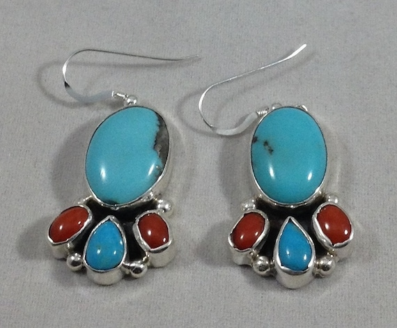 Tyrone Turquoise with Stamped Button Earrings