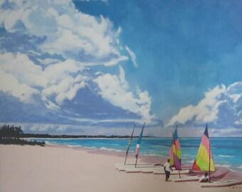Beach at Grace Bay Original Framed Acrylic Painting