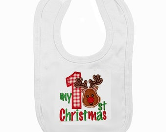 Baby Bib Bibs My First Christmas 1st Xmas Gift White Pull On Novelty Santa Robin