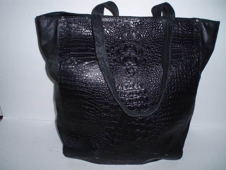 Jana Feifer Black Croc Leather Tote