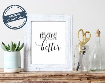 Wall Decor- Want Better - not more / Printable  - download / Home art / Inspirational quote / calligraphy