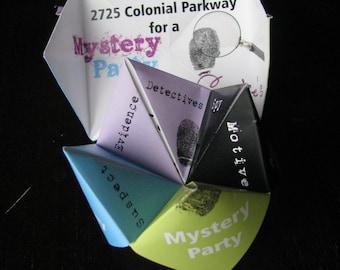 Cootie Catcher Spy Detective Birthday/Fortune Teller invitation printable template