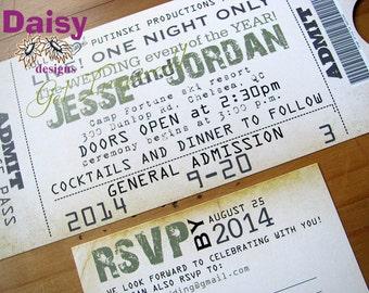 Concert Ticket Invitation / Wedding Ticket Invite
